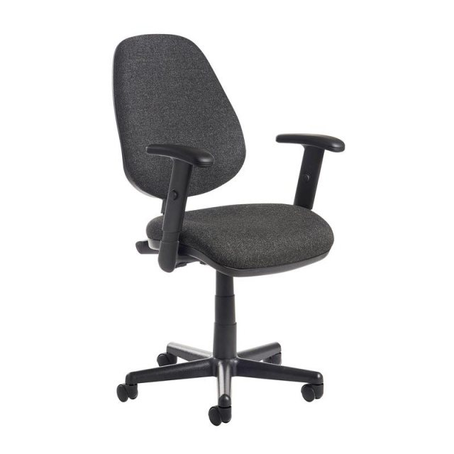 Home In Myron Flex Fabric Swivel Adjustable Arms Office Chair - Black