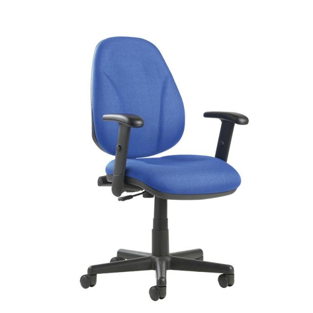 Home In Samar Flex Fabric Swivel Adjustable Arms Office Chair - Blue