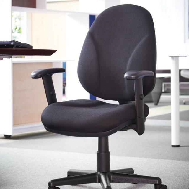 Home In Samar Flex Fabric Swivel Adjustable Arms Office Chair - Black