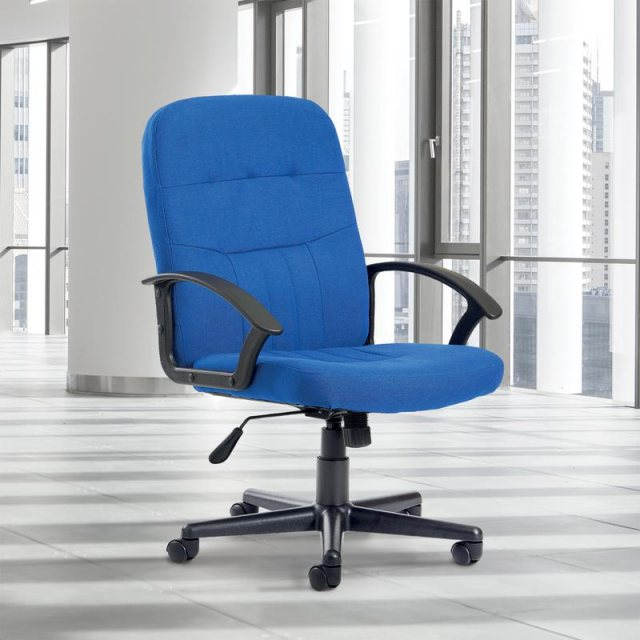 Home In Linos Swivel Deep Padded Fabric Office Chair - Grey