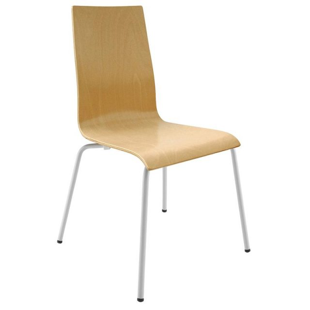 Home In Baldo Moulded Ply Dining Chair - White Legs