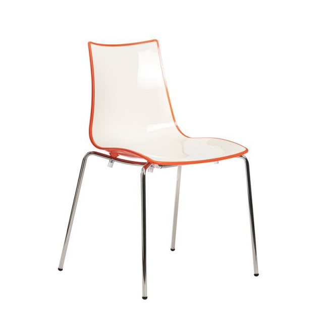 Home In Berko Chrome Frame Dining Chair - White With Orange Edging