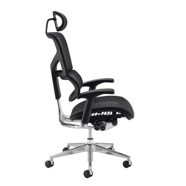 Home In Kleon Max Mesh Swivel Office Chair With Headrest - Black