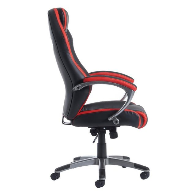 Home In Gamo Comfort Swivel Gaming Chair - Black with Red Trim