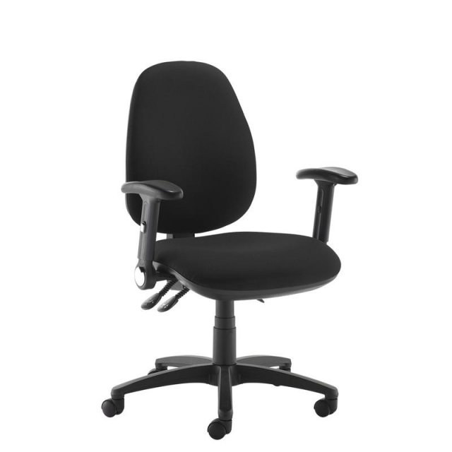 Home In Zeenus 630 Fabric Ajustable Arms Swivel Office Chair - Black