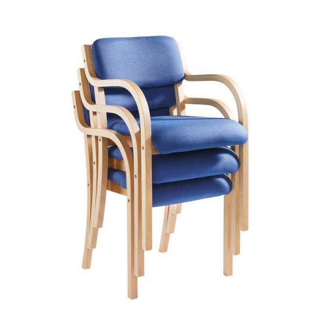 Home In Nesta Wooden Frame Conference Chair With Arms - Blue