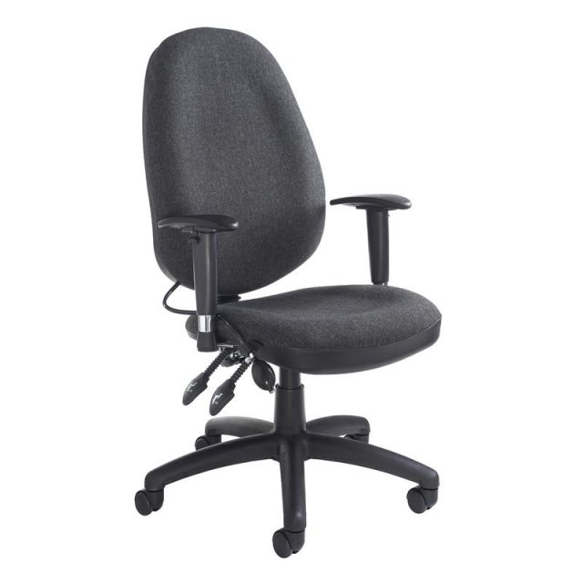 Home In Obi Fabric Office Chair With Pump Up Lumbar Support - Black