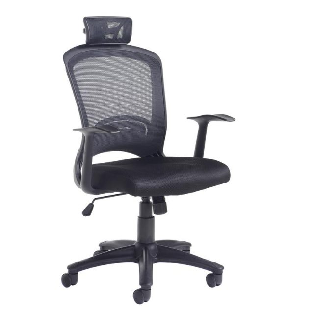 Home In Lekan High Mesh Back Swivel Office Chair With Headrest - Black