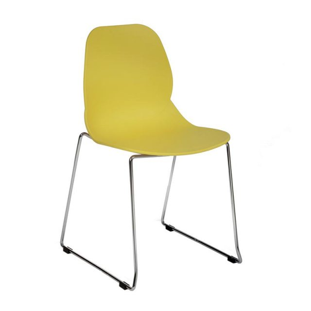 Home In Anwen Star Sled Leg Cafe and Dining Chair - Yellow