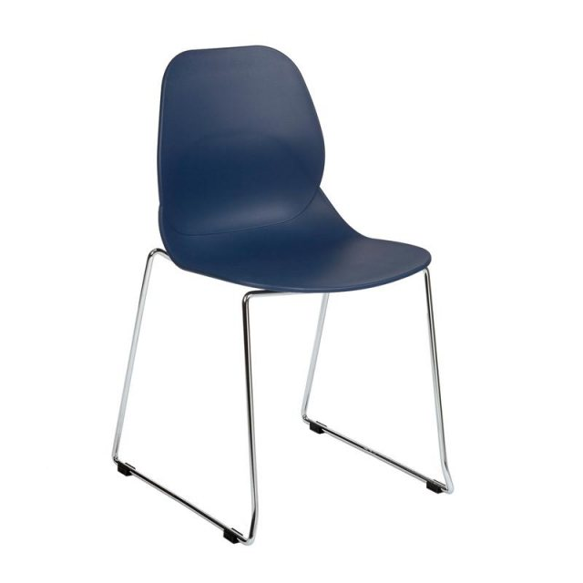 Home In Anwen Star Sled Leg Cafe and Dining Chair - Dark Blue