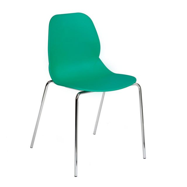 Home In Anwen Stack Chrome Legs Cafe and Dining Chair - Turquoise