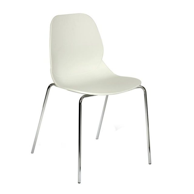 Home In Anwen Stack Chrome Legs Cafe and Dining Chair - White