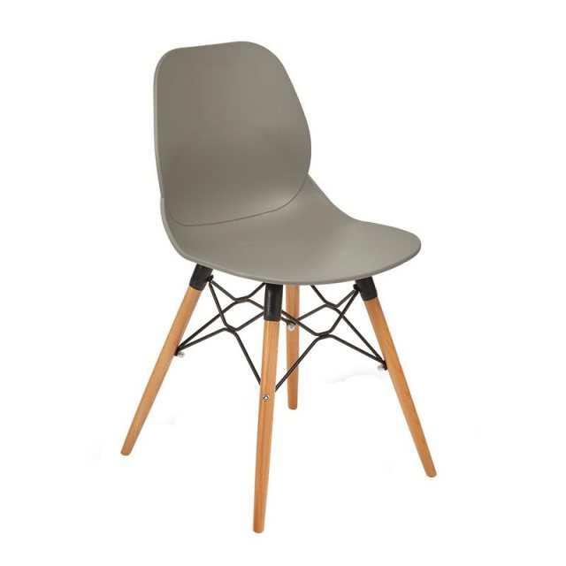 Home In Anwen Gold Wooden Legs Cafe and Dining Chair - Grey