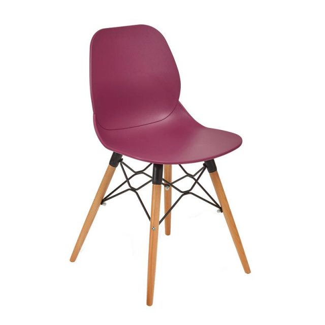Home In Anwen Gold Wooden Legs Cafe and Dining Chair - Plum