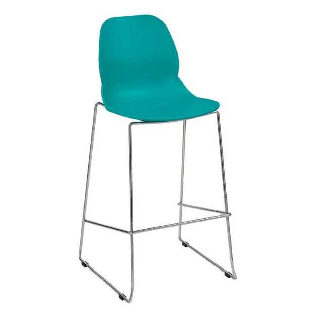 Home In Amara Star Chrome Frame Bar Stool - Turquoise